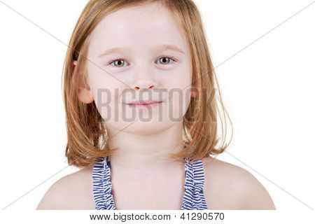 Humeral portrait of little girl in striped swimsuit