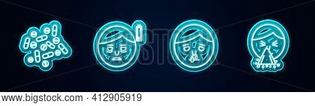 Set Line Medicine Pill Or Tablet, Fatigue, Runny Nose And Handkerchief To His Runny. Glowing Neon Ic