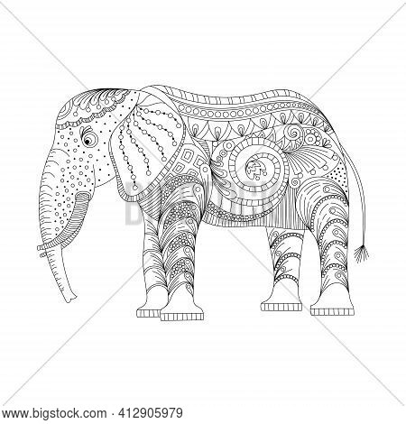 Elephant Coloring Page Graceful And Exquisite Style. Vector Illustration, On A White Background. Col