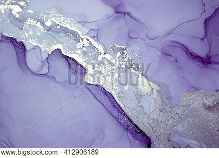 Purple Liquid Paint Waves. Smoke Luxury Acrylic Art Mix. Abstract Marble Texture. Modern Liquid Pain