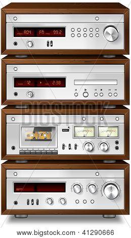 Vintage stereo cassette tape deck recorder CD player tuner amplifier rack