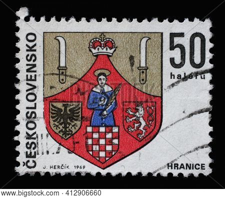 ZAGREB, CROATIA - SEPTEMBER 18, 2014: Stamp printed in Czechoslovakia shows coat of arms of Hranice, circa 1969