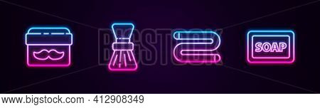 Set Line Cream Or Lotion Cosmetic Jar, Shaving Brush, Towel And Bar Of Soap With Foam. Glowing Neon