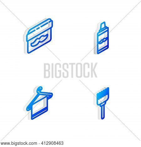 Set Isometric Line Shaving Gel Foam, Cream Or Lotion Cosmetic Jar, Towel Hanger And Hairbrush Icon.