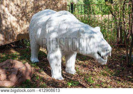 Russia, Moscow - September 29, 2018: Prehistoric Extinct Polar Polar Bear. Terrible Beast Of The Ice