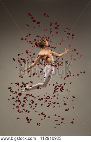 Heart. Young And Graceful Ballet Dancer On Studio Background In Flight, Jump With Rose Petals. Art,