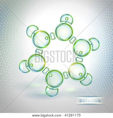 Abstract background with benzene molecule