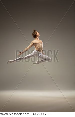 Flying Bird. Young And Graceful Ballet Dancer Isolated On Studio Background In Flight, Jump. Art, Mo