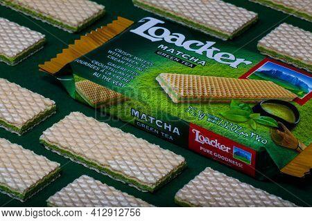 Prague,czech Republic - 10 March, 2021: Loacker Napolitaner Wafers.loacker Is An Italian Company Bas