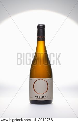 Prague,czech Republic - 10 March ,2021: Bottle Of Riesling On The White Background.