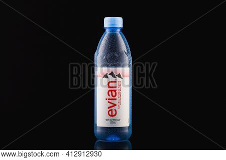 Prague,czech Republic-17 January, 2021: Evian Natural Mineral Water On The Black Background. Evian I