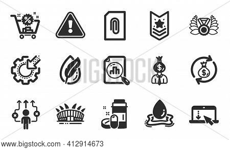 Scroll Down, Business Way And Manager Icons Set. Arena Stadium, Shoulder Strap And Analytics Graph S