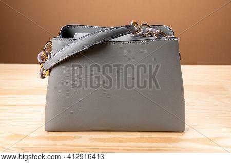 Fashion Women Bag. Beautiful Elegance And Luxury Fashion Women Bag. Women's Leather Grey Handbag On