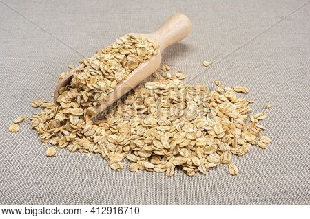Oatmeal Cereal. Scoop And Pile Of Oatmeal With Its Plant. Dry Rolled Oatmeal. Wooden Scoop Spoon Wit