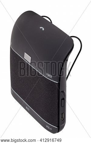 Electronic Devices. Close-up Of A Hands Free Car With Microphone And Speaker For Calls And Music Str