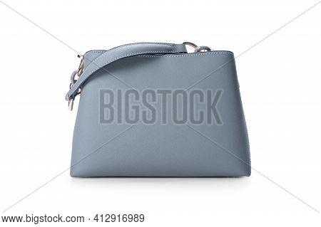 Women Leather Grey Handbag Isolated On White Background. Leather Elegant Women Bag. Fashionable Fema