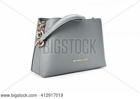 Moscow, Russia - March, 17, 2021: New Model Leather Grey Handbag Michael Kors On White Background. M