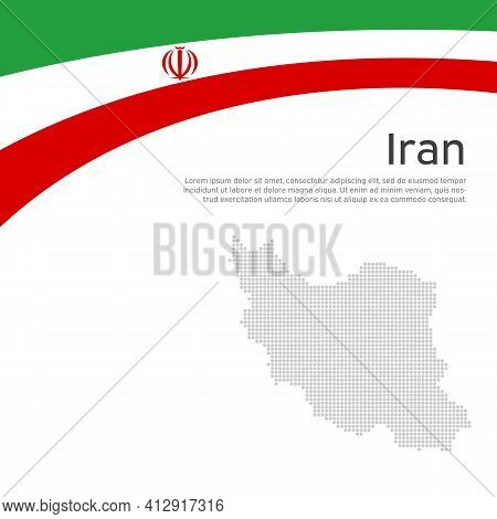 Abstract Waving Iran Flag, Mosaic Map. Iranian State Patriotic Banner, Flyer. Card Design. Business
