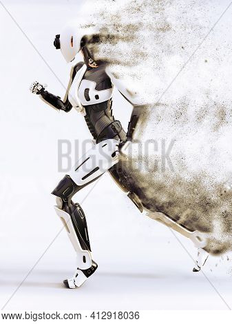 3d Rendering Of A Female Android Robot Dissolving In Smoke Or Sand Or Vaporizing While Running. Futu