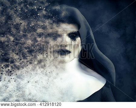 3d Rendering Of A Ghost Nun Or Demon That Is Dissolving In Smoke Or Vaporizing With A Dark Mysteriou