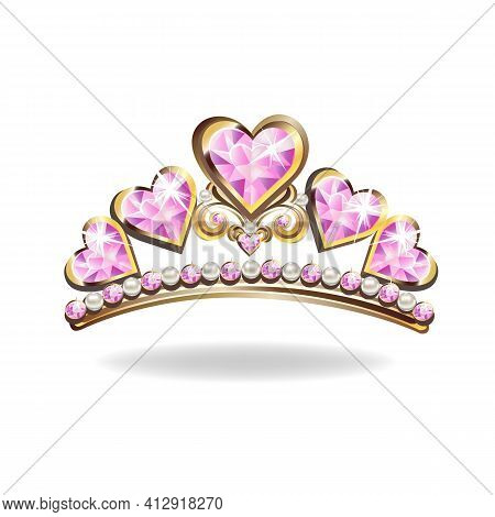 Beautiful Golden Princess Diadem