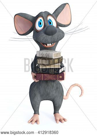 3d Rendering Of A Cute Smiling Cartoon Mouse Holding A Pile Of Books In His Hands. White Background.