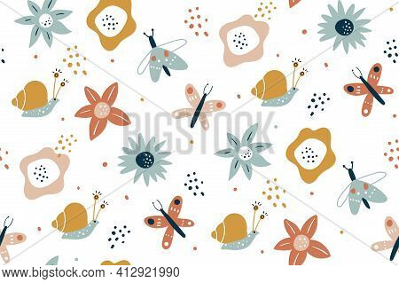 Floral Seamless Pattern With Butterflies, Hand Drawn Vector Design. Seamless Fashion Trendy Fabric T