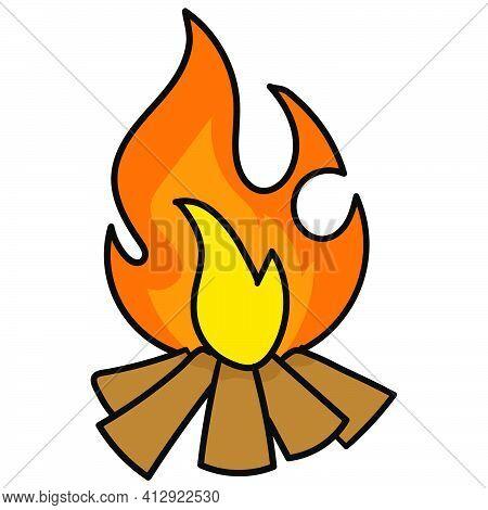 Bonfire Ions Smoldering, Doodle Icon Image. Cartoon Caharacter Cute Doodle Draw