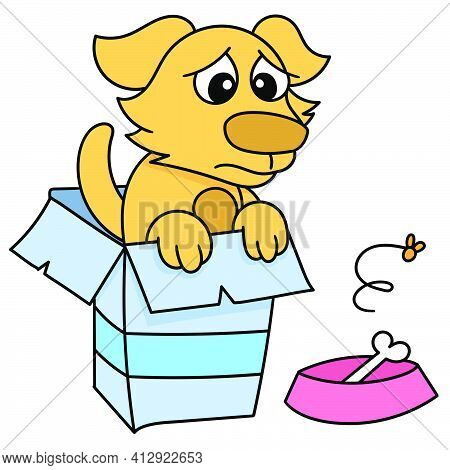 Dog Pity In A Cardboard Box And A Bone, Doodle Icon Image. Cartoon Caharacter Cute Doodle Draw
