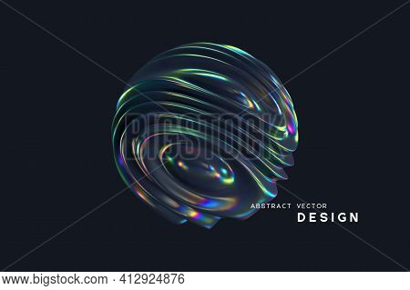 3d Wavy Fluorescent Sphere. Abstract Waving Shapes With Thin Film Effect. Liquid Multicolor Pattern,