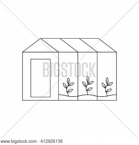 Vector Illustration With A Greenhouse. Glass Greenhouse.