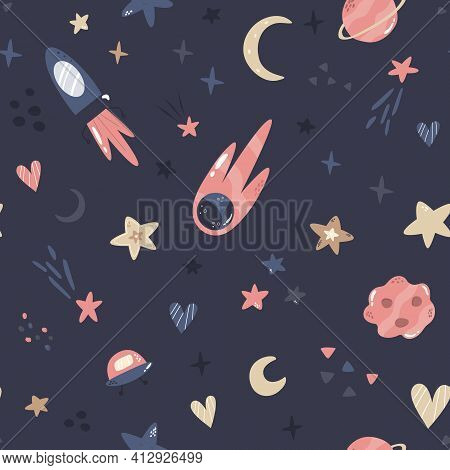 Seamless Pattern With Cosmic Objects Planets, Stars, Comets, Rocket, Ufo. Vector Illustration For Di
