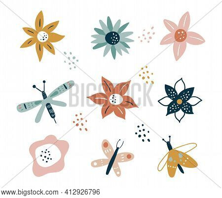 Flower And Branch Collection. Floral. Flowers, Peonies, Anemones, Daisies, And Cornflowers Isolated