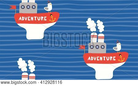 Steamboat, Gull, Sea Waves, Stripes Nautical Seamless Pattern On Blue Background. Hand Drawn Vector