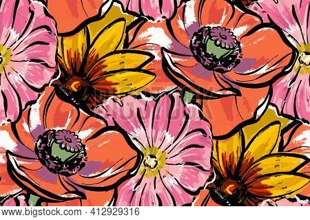 Seamless Pattern. Red Large Flowers. Poppies, Rudbeckia And Mallow.