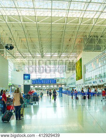 Frankfurt, Germany - August 29, 2018: People At Frankfurt Am Main Airport Hall. Frankfurt Airport Is
