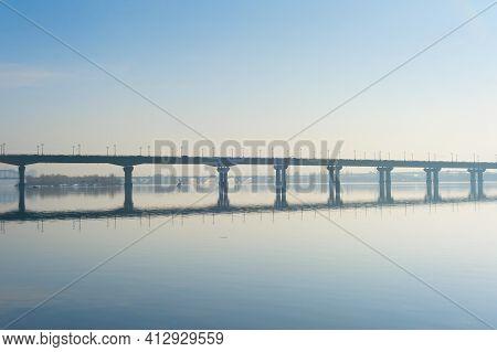 Paton Bridge In A Spring Morning Mist. Kiev, Ukraine