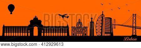 Vector City Skyline Silhouette - Illustration,  Town In Orange Background,  Lisbon Portugal