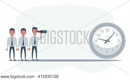 Businessman Looking In Future On Time. Man Using Telescope Looking For Success, Opportunities, Futur