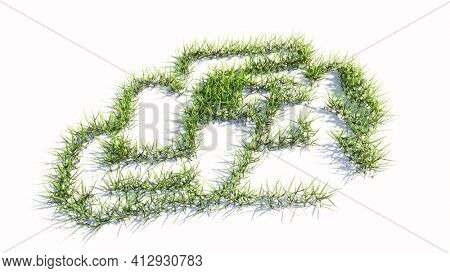 Concept or conceptual green summer lawn grass symbol shape isolated on white background, sign of racing car. A 3d illustration metaphor for motorsport, competition, race, speed and power