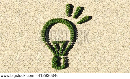 Concept or conceptual group of green forest tree on dry ground background, sign of a shining lightbulb. A 3d illustration metaphor for creation, inspiration, brainstorming, genius and invention