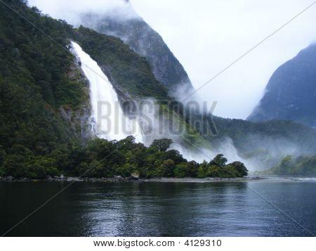 Watertfall At Milford Sound