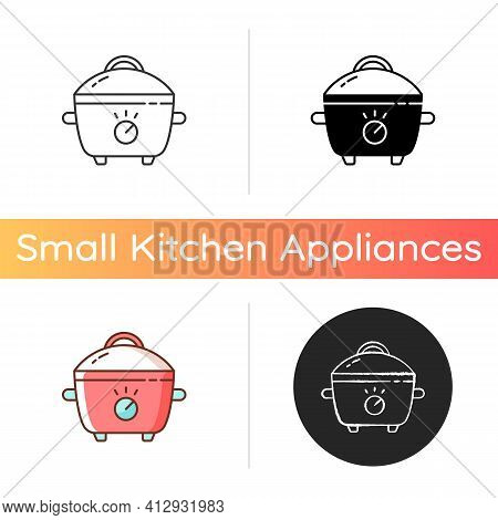 Slow Cooker Icon. Porcelain Crock Pot. Electric Utensil For Food Preparation. Pot For Cooking Meal.
