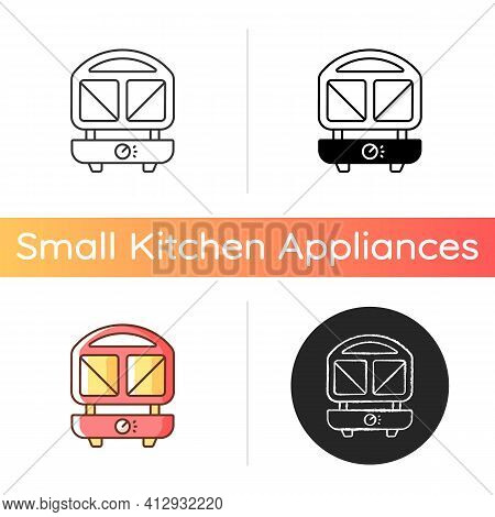 Sandwich Press Icon. Home Cooker. Household Electric Utensil For Cooking. Toast Maker. Household Hea