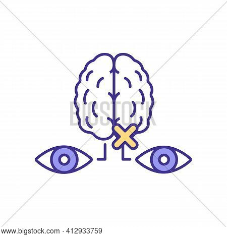 Brain Eye Nerves Rgb Color Icon. Troubles With Functionality Of Human Body Nervous System. One Eye R