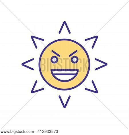 Eyes Damage Rgb Color Icon. Sun Light Dealing Damage To Human Eyes. Drying Body Organs. Dealing With
