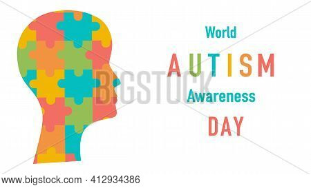 World Autism Awareness Day. Colourful Puzzles Vector Background. Symbol Of Autism. Medical Flat Illu