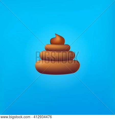 Vector Chocolate Sweet Poop Icon Isolated On Abstract Blue Background. Cartoon Funky Pile Of Poo Sti