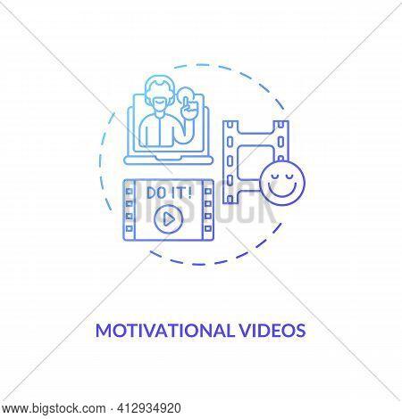 Motivational Videos Concept Icon. Inspirational Videotape Idea Thin Line Illustration. Inspiring Act