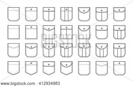 Set Of Patch Pocket Icons For Shirts And Other Clothing. Isolated Line Vector Illustration On White